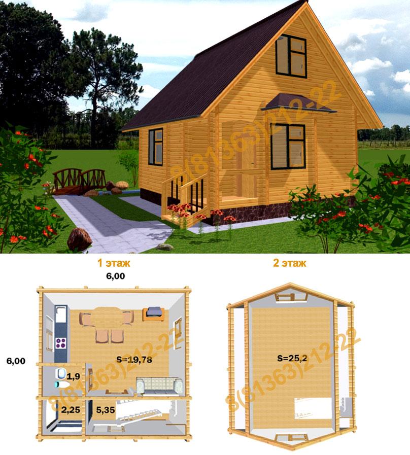 Строительство дома из бруса 8 на 6 с мансардой своими руками 100